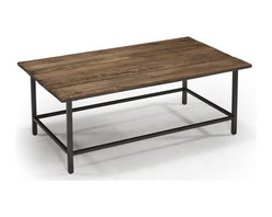 Magnussen Furniture - Woodbridge Wood Rectangular Cocktail Table - Constructed from Reclaimed wood, Metal Tube Bases and Levelers. All pieces feature metal rod and tube bases. All pieces feature natural imperfections that create a unique piece. Industrial Styling. Natural Sienna Finish. Reclaimed wood, Metal tubing and Levelers. Natural Sienna Finish. 1 Year Limited Warranty. 48 in. W x 28 in. D x 18 in. H (37 lbs.)Industrialize your version of kicked-back decor with Woodbridge. Reclaimed timbers and metal rod and tube bases create a rough edge,casual but modern industrial look. Nail holes, dips, natural imperfections and blemishes are also present that create the unique individual character of this collection.