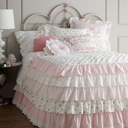 "Dransfield & Ross - Dransfield & Ross Pink Pompom Pillow, 14""Sq. - Ruffles, ruffles everywhere—plus pink gingham and lace. What girl wouldn't find ""Camryn"" bed linens completely irresistible? All of machine-washable cotton. Imported. Coverlets have cotton batting and a tiered ruffled skirt with 30"" drop. Pink gi..."