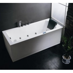 Ariel - Luxury Contemporary Bathroom - Ariel AM154L Platinum Whirlpool Freestanding Tub With Water Pump System, Air Bubble Jet System, FM Radio, Chromatherapy Lighting, Ozone Sterilization & Heavy-Duty Acrylic