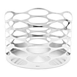 Embrace Fruit Bowl - A modern take on the fruit bowl. The satin polished stainless steel frame gives weight while the circle cut outs give it a sense of weightlessness. Works great as a decorative basket�as well.Designed by Halskov & Dalsgaard.�
