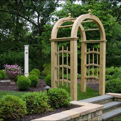 Fifthroom - Treated Pine Mount Vernon Arbor - Our Mount Vernon Arbor will be a stately and impressive entryway to your garden or yard.  With a four-foot wide opening, and generously-spaced side lattice and top slats, it can accommodate a large population of various plants, flowers, and vines.  Like our other arbors, it is designed for beauty and durability, from treated decay-resistant pine.
