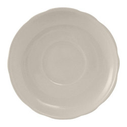 Tuxton - Shell 5 1/2 inch Saucer Coupe Scalloped Edge in American White - Case of 36 - Turn on the charm and experience the delicate scalloped edges of the Shell collection. Available with or without a black line this collection is not only striking but makes you feel at home.