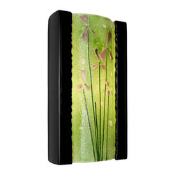 A19 - Meadow Wall Sconce Black Gloss and Multi Lime - Light shines from the top and bottom of the fixture as well as through the translucent pane featuring fused-on raised petals and flowers for a unique meadow design. The rectangular ceramic frame curves in gently at the back and supports a convex pane of textured, recycled art glass.
