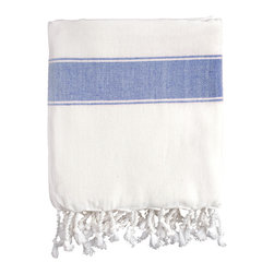 Nine Space - Natural Cotton Fouta Towel, Blue - Handwoven from pure Turkish cotton, this classic fouta's color-washed stripes give it a pleasing, sun-dappled look that mimics the weathered patina of the Mediterranean coast. Use this fashionable fouta as a chic beach cover-up, as a luxurious bath towel or strewn across a table or chair for an instant shot of color and texture.