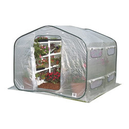 Flowerhouse - Flowerhouse Portable DreamHouse Greenhouse - 14331482 - Shop for Greenhouses from Hayneedle.com! Extend your gardening possibilities with the versatile Flowerhouse Portable DreamHouse Greenhouse. This easy to set up hot house is made with flexible frame extensions and a polyethylene body. Roll up panel doors provide easy access while screened windows let you control the airflow and humidity. Lower ports are ideal for power cords or hoses. Peak end zippers let you connect multiple units to chain multiple greenhouses together for more growing space.