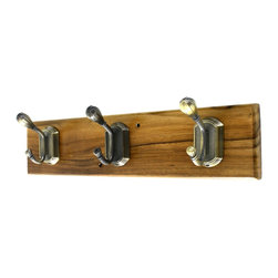 """MarktSq - Wooden Hook Rack (Antique Brass Hook) - This elegantly crafted wooden hook rack comes with three, two peg hooks in a traditional style. It is made out of solid wood that has been polished and lacquered. The hook has two pre-drilled holes near the center hook. Hang this in the hallways, foyer or or use it to organize your scarf collection. Approximate Dimensions: L 13.25"""" x H 3"""" x T 0.5"""". Choose from our huge selection of one of a kind Wooden Hook Racks."""