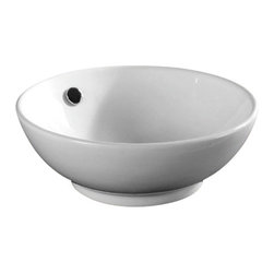 Caracalla - Round White Ceramic Vessel Bathroom Sink, No Hole - Modern style, round white ceramic vessel bathroom sink with one hole. Sharp above counter washbasin comes without overflow. Made in Italy by Caracalla.