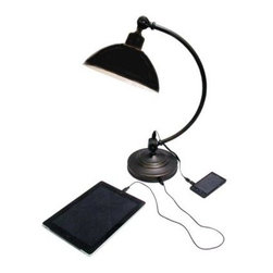 HomeSelects - Desk Lamps: 21 in. Gun Metal Curved Arm Task Lamp 7601 - Shop for Lighting & Fans at The Home Depot. 7601 light intelligently combines a five volt USB Charger and receptacle with a handsome desk lamp. Conveniently charge your handheld electronics and tablets utilizing the USB charger built in the base of the lamp. Modern and transitional desk lamp in gunmetal finish offers timeless style.