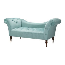 Button-tufted Velvet Chaise Settee, Caribbean - This tufted velvet chaise settee in sky blue splashes you with a wave of color anywhere you put it. Target's price is also super affordable, making it a must-have on everyone's list.
