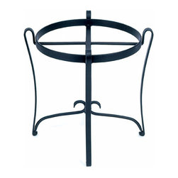 Achla - Wrought Iron Planter Stand - While extremely elegant, this wrought iron plant stand is also extremely sturdy.  Able to support planters up to 16 inches in diameter, this gracefully curved black powdercoated wrought iron planter stand is water resistant and all weather durable.  You'll love accenting your favorite container gardens with this beautiful plant stand.  Planters on the ground can be knocked over, chipped, bumped, and often emit dirt from their bases which is hard to clean.  An iron, round stand perfect for uplifting an existing plant holder or a giant steel or copper planter tub. * This graceful and delicately curved Round Wrought Iron Planter Stand may look light and airy, but it's also surprisingly sturdy and well able to support planters up to 16 in. in diameter. This stand can hold 35 - 40 lbs.. The black powdercoated finish is extremely durable and water resistant. Wrought Iron. Black Powdercoat finish. 16 in Diameter x 18 H in