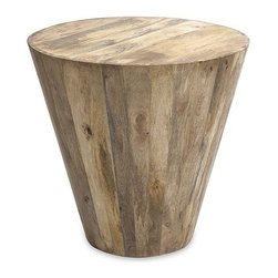 "IMAX - Fabiola Wood Accent Table - In a unique inverted conical shape, the honey toned Fabiola accent table is made using a wood plank design. Item Dimensions: (23""h x 24""w x 24"")"