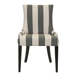 Safavieh - Becca Linen Dining Chair - Grey And Bone Stripe - The Becca chair features a dressing elegance without being stuffy, so it��_s a perfect companion for country homes, city apartments or formal manors. The grey and bone stripe Becca, with espresso finished legs, features a high back, sloped arms and exposed nail heads.