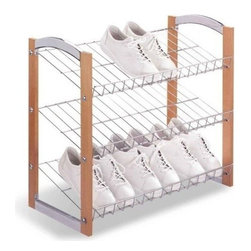 Organize It All - Shoe Shelf, Three Tier - Use our 3 tier shoe rack to help organize your shoes whether it's in the closet or garage. Less clutter. Clean lines.