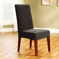 Sure Fit - Chocolate Chip Stretch Honeycomb Short Dining Chair Cover - The Sure Fit Dining Chair Cover offers form-fitting coverage for your favorite chair,with a polyester and spandex-blended honeycomb weave construction. Finished in chocolate chip,this furniture cover is machine washable.