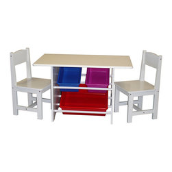None - RiverRidge Kids Table with Two Chairs and Storage Bins Set - Give them a place to play with this white kid's table and storage bin set. Constructed of plastic and engineered wood,this set offers many years of enjoyable playtime. The storage bins provide the ability to stow items away quickly.