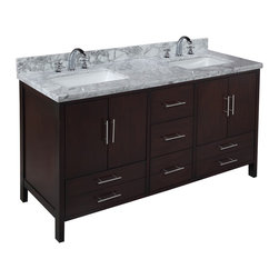 Kitchen Bath Collection - California 60-in Double Sink Bath Vanity (Carrara/Chocolate) - This bathroom vanity set by Kitchen Bath Collection includes a chocolate cabinet, soft close drawers, self-closing door hinges, double thick Italian Carrara marble countertop (an incredible 1.5 inches thick at the edge!), double undermount ceramic sinks, pop-up drains, and P-traps. Order now and we will include the pictured three-hole faucets and a matching backsplash as a free gift! All vanities come fully assembled by the manufacturer, with countertop & sink pre-installed.
