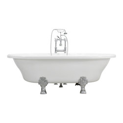 """The Tub Studio - Francesca 73"""" Extra Wide Acrylic White Double Ended Clawfoot Tub Package - Product Details"""