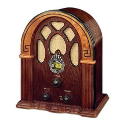 "Crosley Radio - 1930's Companion Radio in Walnut - Walnut finish. AM/FM Radio. Analog Tuner. External FM Antenna. Dynamic full range speaker. 5.75 in. L x 9 in. W x 10.75 in. HHappy Days are here again went the most popular tune of 1930, but for most Depression-era Americans, the sentiment amounted to wishful thinking. In 1932, Hoover was defeated by FDR by a landslide. After this runaway victory, it became apparent that FDR embodied an optimism and speaking voice that seemed tailor-made for radio. He delivered regular radio addresses to the nation known as ""Fireside Chats."" But FDR's chats weren't the only thing Americans were listening to. Americans were relying upon radio as their evening entertainment. The tunes and talk were enjoyed on radio sets just like Crosley's Companion. Careful attention to detail makes this mini, yet magnificent, Cathedral-style radio as authentic as the 1930's original."
