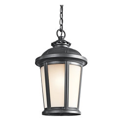 Kichler Lighting - Kichler Lighting Ralston Transitional Outdoor Hanging Light X-KB21494 - The painted Black finish emphasizes the classic and European inspired elements of the cast aluminum frame on this Kichler Lighting outdoor hanging light. From the Ralston Collection, this charming design also features gentle tapering and a beautiful satin etched glass shade.