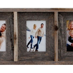 MyBarnwoodFrames - Collage Picture Frame 4x6 With 5 Openings, Barnwood - Collage  Picture  Frames  handcrafted  from  beautiful  rustic  wood  are  some  of  our  most  popular  gift  items,  so  if  the  perfect  Mother's  Day  gift,  Christmas  gift,  or  housewarming  gift  has  been  eluding  you,  look  no  further.  This  5-opening  collage  frame  is  not  only  unique,  it's  functional.  Now  you  can  display  your  most  precious  photos  all  in  one  place.  If  you're  a  little  bit  adventurous,  filling  a  collage  frame  can  be  half  the  fun.           Product  Specifications:                  Approximately  35  wide  x  9.5  high  x  1.75  deep              Hanging  hardware  and  glass  are  included.  Cardboard  backing.              Made  in  USA              Eco-friendly  -  handcrafted  from  natural  reclaimed  barnwood              We  take  naturally-aged  barnwod  planks  and  craft  them  into  one  large  frame  capable  of  holding  multiple  photos.  Your  frame  includes  glass,  backing  and  hanging  hardware,  and  you  can  purchase  unique  rustic  hardware  from  our  site  if  a  decorative  hood  or  hanging  rod  is  to  your  taste.          Each  collage  picture  frame  we  build  is  made  to  exacting  standards  and  is  sturdy  enough  to  last  for  generations.  This  isn't  a  flimsy  frame  built  in  some  overseas  sweatshop.  Our  craftsmanship  will  withstand  years  of  use.  Best  of  all,  you  can  turn  this  unique  rustic  frame  into  a  one-of-a-kind  display  that  will  become  a  family  treasure.  Include  five  generations  of  family  photos  all  in  one  frame,  or  create  a  unique  display  of  memorabilia  such  as  a  high  school  letter  surrounded  by  photos  of  the  championship  game.  This  frame  is  also  great  for  weddings.  You  can  show  multiple  photos  and  display  them  in  attractive  iron  easels  right  on  the  gift  table  or  near  the  refreshments.          Find  our  collection  of  collage  picture  frames  here          Check  out  some  unique  hanging  hardware  here.
