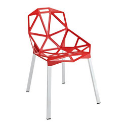 Contempo Chair in Red - The special occasion chair just got more fun with this contemporary furniture piece. We love its network of welded aluminum rods and red geometric seat design. Chrome legs and black plastic foot caps add stability to the chair. Take it from table to table, room to room with ease.