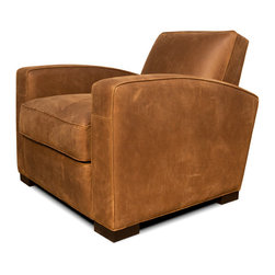 Mitt Leather Chair - Modern club chair design with a tight back cushion offers elegance - sophistication and comfort in a small footprint.