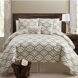 None - Tangiers 5-piece Comforter Set - The gorgeous Tangiers comforter set features an Ikat pattern that offers the versatility to fit into a wide range of decor styles from modern-contemporary to country or traditional. The set includes one comforter, two shams and two decorative pillows.