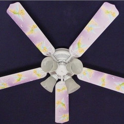 Ceiling Fan Designers Tinkerbell Fairy Indoor Ceiling Fan - Purple - She'll be flying high when she sees the Ceiling Fan Designers Tinkerbell Fairy Indoor Ceiling Fan - Purple in her room. This adorable ceiling fan has lots of pixie dust magic to cool down and light her room. It's a ceiling fan and light kit combo that comes in your choice of size: 42-inch with 4 blades or 52-inch with 5. The blades are reversible so she can have the pretty purple Tinkerbell design then when she's grown up bit you can change it to fresh white. It has a powerful yet quiet 120-volt, 3-speed motor with easy switch for year-round comfort. The 42-inch fan includes a schoolhouse-style white glass shade and requires one 60-watt candelabra bulb (not included). The 52-inch fan has three alabaster glass shades and requires three 60-watt candelabra bulbs (included). Your ceiling fan includes a 15- to 30-year manufacturer's warranty (based on size). It is not an officially licensed product. Licensed products were used as decorations.