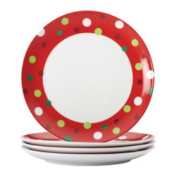 Rachael Ray - Rachael Ray Dinnerware 4-Piece Salad Plate Set - Hoots Decorated Tree - Dot Patt - Shop for Dishes and Plates from Hayneedle.com! Add holiday cheer to any meal with the fun and festive Rachael Ray Dinnerware 4-Piece Salad Plate Set - Hoots Decorated Tree - Dot Pattern. These sturdy porcelain salad plates feature a cheery red band with a green white and red polka dot motif to add extra holiday spirit to every table. Use them to serve your favorite holiday appetizers snacks and desserts. Their size and vibrant design also make them perfect for serving cookies to Santa and his helpers! The salad plates mix-and-match with so many other coordinating and contrasting pieces and sets from Rachael Ray's holiday collections that eating and entertaining is a celebration from the get-go. And best of all because they are conveniently microwave and dishwasher safe you'll spend more time with your guests and away from the kitchen sink. About Rachael RayThis collection of fun functional colorful cookware is inspired and endorsed by TV personality Rachael Ray. Express yourself through your cookware with these truly unique pieces made with high-quality materials like cast iron and bright enamel exteriors. These hard-working pieces are perfect for all types of cooks from casual home users to commercial chefs and you'll love the way they look in your kitchen.