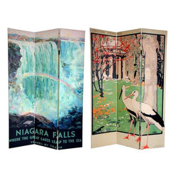 Oriental Furniture - 6 ft. Tall Double Sided Niagara Falls Room Divider - Get away from it all with this stylish pair of late 19th early 20th century art deco/art nouveau travel posters. On the front is a lovely, stylized print of London's famous Royal Botanical Gardens, Kew, at the turn of the century. The back features an attractive graphic art rendering of the American side of Niagara Falls by artist Frederic Madan. Both of these beautiful landscape paintings will bring conversationally interesting elements to your living room, bedroom, dining room, kitchen or place of business. This three panel screen has different images on each side, as shown.