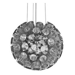 "LexMod - Pierce Aluminum Pendant Light in Silver - Pierce Aluminum Pendant Light in Silver - Break through outer limits with the Pierce modern pendant lamp. Made of aluminum and outfitted for four 20-watt halogen bulbs, Pierce transmits a diverse array of light from within the hole laden outer shell. Perfect for rooms in need of a vibrant piece full or energy and enthusiasm. Set Includes: One - Pierce Aluminum Pendant Light Modern pendant lamp, Aluminum casing, Adjustable 55 inch cord, Four 20 watt halogen bulbs (G4) Overall Product Dimensions: 12""L x 12""W x 12""H Cord Length: 55""L - Mid Century Modern Furniture."