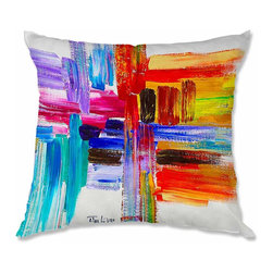 DiaNoche Designs - Pillow Linen - Lam Fuk Tim Color Strokes - Soft and silky to the touch, add a little texture and style to your decor with our Woven Linen throw pillows.. 100% smooth poly with cushy supportive pillow insert, zipped inside. Dye Sublimation printing adheres the ink to the material for long life and durability. Double Sided Print, Machine Washable, Product may vary slightly from image.