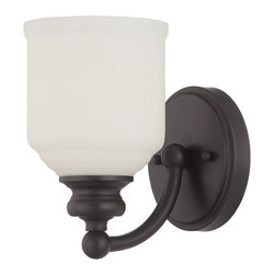 Savoy House - Melrose 1-Light Sconce - The Melrose collection boasts chic modern lines, white globes and an English bronze finish. Style meets value!