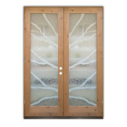 """Glass Doors - Frosted Glass Front Entry Doors - BRANCHES 2D Knotty Alder - Glass Front Entry Doors that Make a Statement! Your front entry door is your home's initial focal point and glass front doors by Sans Soucie with frosted, etched glass designs create a unique, custom effect while providing privacy AND light thru exquisite, quality designs!  Available any size, all glass front doors are custom made to order and ship worldwide at reasonable prices.  Exterior entry door glass will be tempered, dual pane (an equally efficient single 1/2"""" thick pane is used in our fiberglass doors).  Selling both the glass inserts for front doors as well as entry doors with glass, Sans Soucie art glass doors are available in 8 woods and Plastpro fiberglass in both smooth surface or a grain texture, as a slab door or prehung in the jamb - any size.   From simple frosted glass effects to our more extravagant 3D sculpture carved, painted and stained glass .. and everything in between, Sans Soucie designs are sandblasted different ways creating not only different effects, but different price levels.   The """"same design, done different"""" - with no limit to design, there's something for every decor, any style.  The privacy you need is created without sacrificing sunlight!  Price will vary by design complexity and type of effect:  Specialty Glass and Frosted Glass.  Inside our fun, easy to use online Glass and Entry Door Designer, you'll get instant pricing on everything as YOU customize your door and glass!  When you're all finished designing, you can place your order online!   We're here to answer any questions you have so please call (877) 331-339 to speak to a knowledgeable representative!   Doors ship worldwide at reasonable prices from Palm Desert, California with delivery time ranges between 3-8 weeks depending on door material and glass effect selected.  (Doug Fir or Fiberglass in Frosted Effects allow 3 weeks, Specialty Woods and Glass  [2D, 3D, Leaded] will require approx. 8 week"""