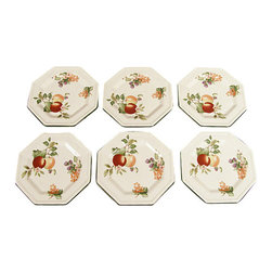 MBW Furniture - New English Set of 6 Dinner Bread & Butter Octagonal Johnson Brothers Plates - This is a lovely English new set of 6 dinner plates. They have an attractive green color around their octagonal edge and they feature beautiful artworks of flowers, leaves and fruits. They are dishwasher, freezer and microwave safe and they're suitable with many decors.