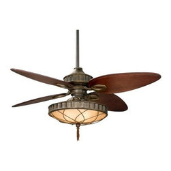 Fanimation Bayhill 56 In. Indoor Ceiling Fan with Light - Bring your room – as well your evening's atmosphere to life – with this romantic Fanimation Bayhill 56 In. Indoor Ceiling Fan with Light. Perfect for similarly styled living rooms or perhaps a ballroom or dining area, this version of the elegantly designed fan from Lauren Brooks features an expertly crafted amber glass bowl fixture with decorative filigree and three 40-watt candelabra bulbs. The fan comes in an attractive Venetian bronze finish with four wood blades in Cairo purple. The Bayhill is wall controlled, although a handheld remote control is available (sold separately). The standard-sized downrod of the fan measures 6 inches from canopy to motor, but several larger downrods are available at 12, 18, 24, 36, 48, 60 and 72 inches. The Bayhill runs at three forward and reverse speeds with a 188 x 25 motor. Featuring a modest 56-inch blade span, the fan easily fits into any size of room. Rated for dry locations only.Fanimation's Humble Beginnings:No matter how many times the story about the company starting in a garage is told, it never loses its power. Fanimation started in Tom Frampton's garage in Pasadena, California. Tom wanted to make a business of selling high-quality ceiling fans. It wasn't long before demand outpaced his supply. Tom moved his headquarters to central Indiana and expanded his operation. Fanimation now employs over 110 employees and maintains a presence in 23 countries.