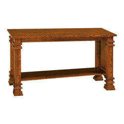 Chelsea Home Furniture - Chelsea Home Elizabethtown Sofa Table in Michaels Cherry - Complete your Elizabethtown living room set with matching solid wood Quarter Sawn Oak tables with Michaels Cherry finish. The end table, coffee table and sofa table are crafted with the same precision as all of our solid wood products, with carved pillars and horizontal details on the corners. Each table comes complete with a solid bottom shelf to store magazines, DVDs and other entertainment items. Chelsea Home Furniture proudly offers handcrafted American made heirloom quality furniture, custom made for you. What makes heirloom quality furniture? It's knowing how to turn a house into a home. It's clean lines, ingenuity and impeccable construction derived from solid woods, not veneers or printed finishes over composites or wood products _ the best nature has to offer. It's creating memories. It's ensuring the furniture you buy today will still be the same 100 years from now! Every piece of furniture in our collection is built by expert furniture artisans with a standard of superiority that is unmatched by mass-produced composite materials imported from Asia or produced domestically. This rare standard is evident through our use of the finest materials available, such as locally grown hardwoods of many varieties, and pine, which make our products durable and long lasting. Many pieces are signed by the craftsman that produces them, as these artisans are proud of the work they do! These American made pieces are built with mastery, using mortise-and-tenon joints that have been used by woodworkers for thousands of years. In addition, our craftsmen use tongue-in-groove construction, and screws instead of nails during assembly and dovetailing _both painstaking techniques that are hard to come by in today's marketplace. And with a wide array of stains available, you can create an original piece of furniture that not only matches your living space, but your personality. So adorn your home wi