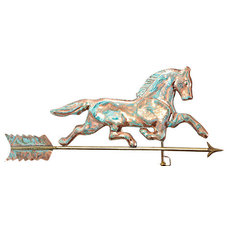 Large 47 Inch Tall Copper Running Horse Weathervane (Weathered Copper Finish)