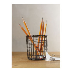 Design Ideas - Cabo Pencil Cup - With an industrial edge and vintage style, our Pencil Cup from the Cabo Collection is likely the coolest pencil cup you'll come across. Hand-woven with rustic charm, it's perfect for storing pens, pencils, scissors, rulers and keeping your office in check.