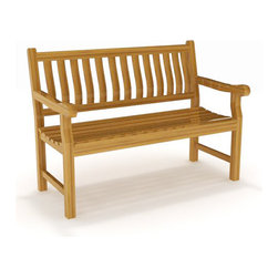 AquaArt - 4' SOLID TEAK OUTDOOR BENCH - FROM THE AQUA ROSE COLLECTION - Both elegant and versatile, this 4-foot bench from Aqua Teak's Aqua Rose Collection can be used in many different locations, both indoors and outdoors. Use as a patio bench for extra seating, an outdoor garden bench, a decorative piece inside your home, and more - since teak wood is naturally water resistant, you can be confident that this outdoor bench will hold up over time. This gorgeously styled teak bench is the perfect size to suit your needs. We are so sure that you will love your new patio bench that it comes with a 30 day satisfaction guarantee and 5 year warranty! (Some assembly required)
