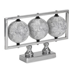 iMax - Gomez White Globes - worlds in a series: A trio of globes is framed on an aluminum base puts the accent on global design.