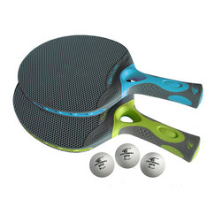 Frontgate - Outdoor Table Tennis Paddle Set - Made from an advanced resin material that's resistant to water, sun, and damage. Table surface includes an anti-glare coating. Frame is crafted from aircraft-quality aluminum. Locking mechanism provides added safety, when folded. Rolls around easily outdoors on heavy-duty casters. The rugged outdoor durability and quality in our Outdoor Table Tennis Set is evident in its every detail. The regulation-size playing surface of this table tennis set outperforms anything in its class. . . . . . Requires assembly.