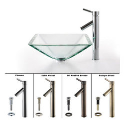 "Kraus - Kraus C-GVS-901-19mm-1002SN Satin Nickel Clear 16-1/2"" Aquamarine - Combo Includes:Tempered glass vessel sinkSolid brass vessel faucetPop-up drain (matches faucet finish)Sink Features:Fully covered under Kraus  limited lifetime warrantyConstructed of solid tempered (toughened) glass - virtually unbreakableShould glass somehow break, tempering also means it crumbles rather than creating shardsHandmade by skilled artisansA fashionable bathroom sink is the perfect harmony of elegance and styleThis eye catching glass vessel sink will turn an ordinary bathroom into a lavish spaceExtra thick, 3/4"" glass is perfect for those who want the sink to make a bold statementDesigned for above-the-counter installationStandard 1-3/4"" drain opening - designed to easily connect to waste lines, including P-trapsExtra secure mounting assemblyAll necessary mounting hardware includedCertifications and Listings Include: UPC, cUPC, CSA, IAPMO, ANSI and SCCFaucet Features:Fully covered under Kraus  limited lifetime warrantyAll-brass faucet constructionHigh-quality, corrosion and rust resistant triple-plated finish - finish covered under lifetime warrantySingle handle operationTall design for use with vessel (above-the-counter) sinksADA compliantLow lead compliant - complies with federal and state regulations for lead contentDesigned to easily connect to standard U.S. plumbing supply bibsExtra secure mounting assemblyAll necessary mounting hardware includedCertifications and listings include: UPC, cUPC, CSA, IAPMO, ANSI and SCCSink Technologies and Benefits:The Vessel Advantage: Beyond uniqueness and their distinctive modern design, vessel sinks also present a couple of functiona"