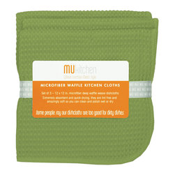 MU Kitchen Peridot Green Waffle Microfiber Dishcloth Set - The beautiful MU kitchen waffle microfiber dishcloth 3 piece set  is made from a revolutionary microfiber  a specially designed cloth that is woven in a unique pattern from polyester fibers that create tiny scoops that suck up dirt and attract micro-particles. Microfiber is softer than silk and stronger than cotton. The cloth is so well crafted  it renders harsh cleaning chemicals entirely unnecessary.  Product Features      Set of 3 - 12 x 12 in. dish towels   Waffle microfiber construction   Lint and streak free cleans and polishes like no other wet or dry   Super absorbent - holds 7 times its weight in liquid   Quick drying - 10 times faster drying time   Reduces bacteria growth with quick drying time   Finished with a hanging loop for convenience