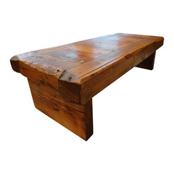 Mt Hood Wood Works - Old Growth Coffee Table 4 inch thick top 30 x 48 - Old Growth Coffee Table. Made with Salvaged Old Growth beams. Rustic, hand hewn look with walnut stain and clear coat. This wood is being recycled, it was once a structural member in a building, now, a heavy duty coffee table. Strong solid wood beam legs. The table that you receive will have different characteristics than the one in the picture. 20 x 48 wide and 4 inch thick top, 14 inches tall.