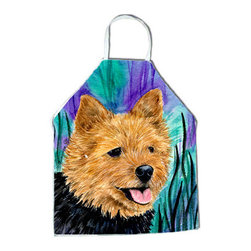 Caroline's Treasures - Norwich Terrier Apron SS8431APRON - Apron, Bib Style, 27 in H x 31 in W; 100 percent  Ultra Spun Poly, White, braided nylon tie straps, sewn cloth neckband. These bib style aprons are not just for cooking - they are also great for cleaning, gardening, art projects, and other activities, too!