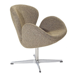 IFN Modern - Swan Inspired Chair-Oatmeal Tweed - The Swan Chair was originally created by the Danish designer and architect Arne Jacobsen for the prestigious Amsterdam Royal Hotel. Jacobsen's original design was created in 1958 and his artistic vision is represented in this piece- he was motivated by the movement to adapt more organic forms into contemporary interior design. The Swan Chair simultaneously boasts an element of elegance and comfort. The shape of this chair adds intrigue to a variety of spaces with its light, airy appearance and at the same time it's beautiful shape invites one to feel relaxed.