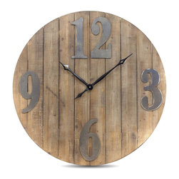 Vertuu Design - Serdica  Clock - Add a touch of rustic charm to your wall with the Serdica Wall Clock. Its round shape, vertical wood panels and large metal numbers give the piece a clean, simple look. Hang it in a kitchen or living room for an easy and stylish way to tell time.