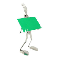 Forked Up Art - Recipe Card Stand - Fork - The perfect piece for any cook!  Includes one(1) 28oz. Bar shaker which is included! Great for holding kitchen utensils, and larger desktop items.