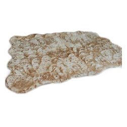 Fur Accents - Fur Accents Pelt Rug, Faux Fur Random Shape, Designer Shag Gallery, 8x8 - A Truly Unique Designer Shag Accent Rug. Rich Shaggy Faux Fur. Random Shape Area Carpet with Scalloped edges and rounded corners. Designer Shag Gallery Collection. Made from 100% Animal Free and Eco Friendly Fibers. Perfect for the Den Family Room bedroom or Nursery! Winter Lodge, Log Cabin , Family Great Room. Skilfully made in the USA and Tastefully lined with real Parchment Ultra Suede. Luxury, Quality and Unique Style for the truly discriminating designer/decorator.